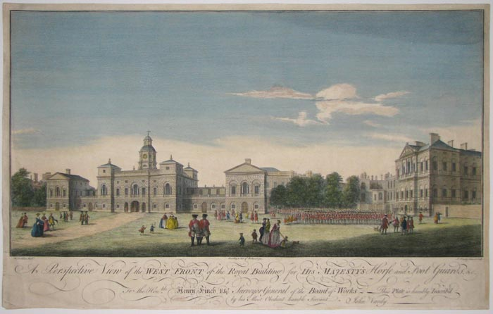 A Perspective View of the West Front of the Royal Building for His Majesty's Horse and Foot Guards, &c.