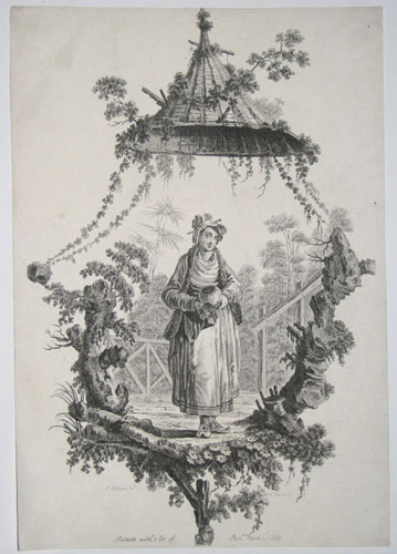 [Woman in a landscape holding a vessel and polishing it with her dress; in decorative surround.]