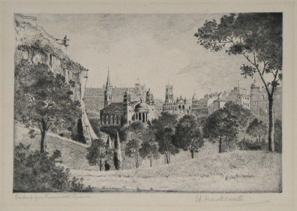 Edinburgh from Princes Street Gardens. [pencil.]