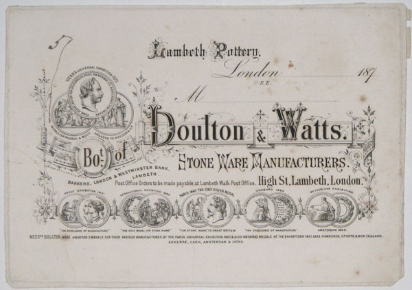 Bo.t of Doulton & Watts. Stone Ware Manufacturers. High Street Lambeth, London.
