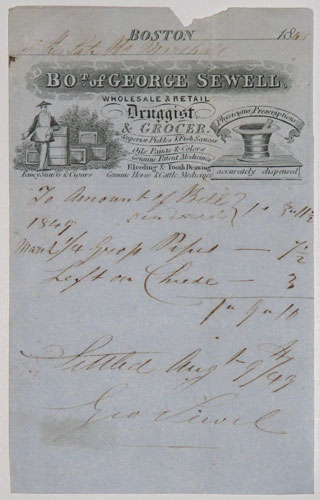 [Pharmacist.]  Bot. of George Sewell,  Wholesale & Retail Druggist & Grocer.