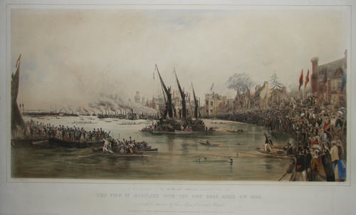 To the Gentlemen of the Oxford and Cambridge University Boat Club This View of Mortlake with the Roat Race April 4th 1868