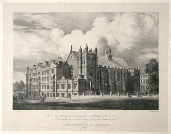 N.E. View of the Hall of the Middle Temple built in 1570.