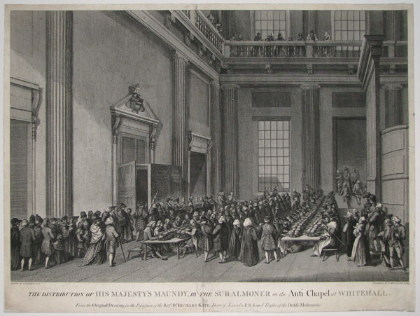 The Distribution of his Majesty's Maundy, by the Sub-Almoner in the Ante Chapel at Whitehall.