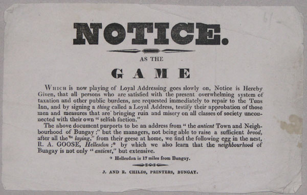 Notice.  As The Game  Which is now playing of Loyal Addressing goes slowly on, Notice is Hereby Given,