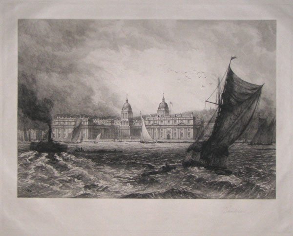 [Greenwich Hospital from the Thames.]