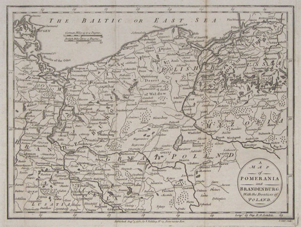 A Map of Pomerania and Brandenburg with the Frontiers of Poland.