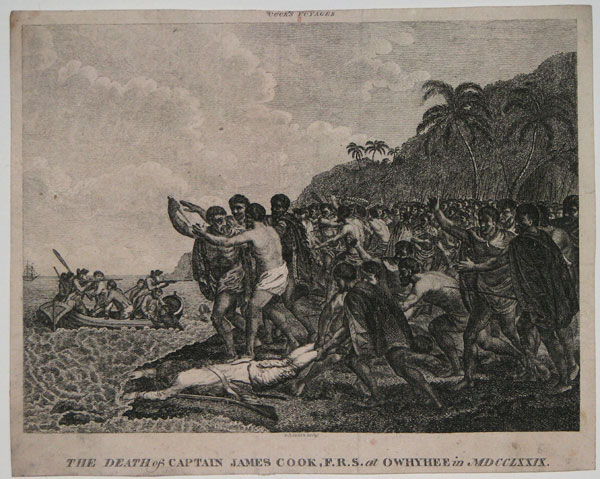 The Death of Captain James Cook, F.R.S. at Owhyhee in MDCCLXXIX.