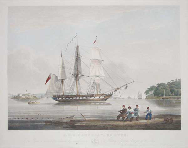 H.M.S. Cambrian, 36 Guns. This print is prespectfully dedicated by permiision to Sir William Symonds, Surveyor of the Navy, by his obliged and very obedient Servant N.M. Condy.