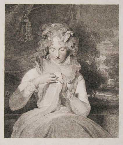 [Woman with needlework.]
