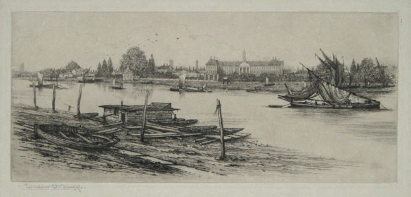 [Royal Hospital from the River, Before the Embankment.]