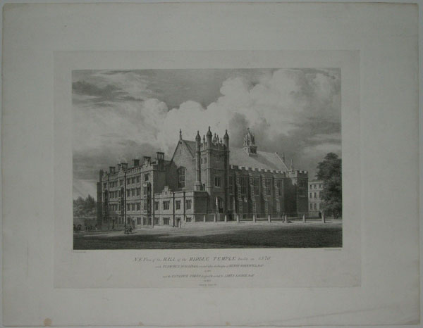 N.E. View of the Hall of the Middle Temple built in 1570. with Plowden Buildings, erected after the Designs of Henry Hakewell, Arch.t. in 1831 and the Entrance Tower, designed and erected by James Savage, Arch.t. in 1832.