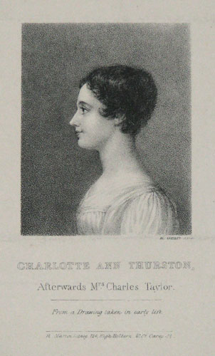 Charlotte Ann Thurston, Afterwards Mrs. Charles Taylor.