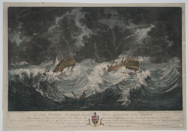 To Sir Peter Parker Bart. Vice Admiral of the White. This Representation of the distressed situation of his Majestys Ships Hector and Bristol when Dismasted in the Great Hurrican Octr. 6th. 1780. in Late.28.20.N. Longe. 72.1.W. when they were with great