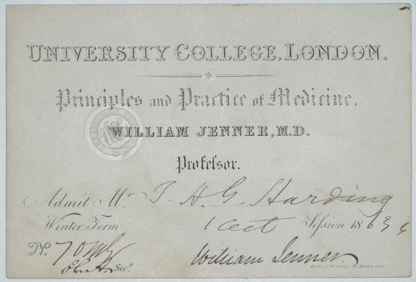 University College, London. Principles and Practice of Medicine. William Jenner, M.D. Professor.