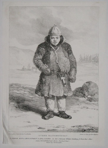 Svend Rassmoussan. A Field Fin or Mountain Laplander, in his ordinary Winter Cloathing of Rein Deer Skin.