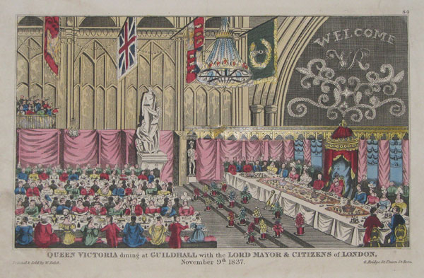 Queen Victoria dining at Guildhall with the Lord Mayor & Citizens of London. November 9th. 1837. 84.