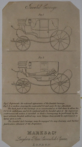 Invalid Carriage Fig. 1. Fig. 2.  Fig. 1. Represents the external appearance of the Invalid Carriage. Fig. 2. Is a section shewing the suspended Cot and seats for two attendants. The back part of the Carriage is so constructed as to fall down to allow