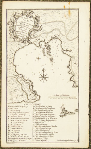 A New & Exact Plan of the Harbour of Port Louis, with ye Attack on Fort St. Louis Taken by Admiral Knowles Mar:8: 1747/8.