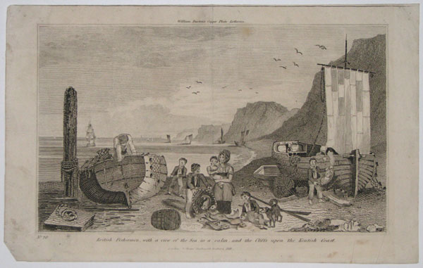 British Fisherman, with a view of the Sea in a calm, and the Cliffs upon the Kentish Coast.