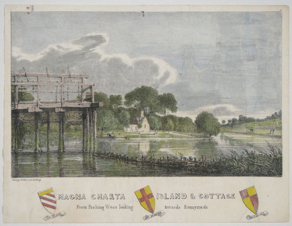 Magna Charta Island & Cottage. From Fishing Wear looking towards Runnymede.