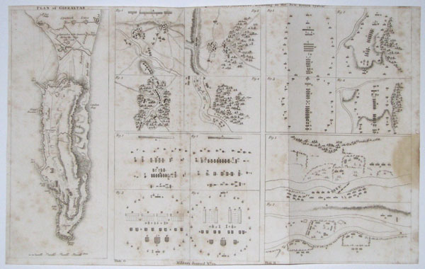 "[Representations of Light Infantry...] Manoeuvres, according to the New French System"". Plan of Gibraltar."