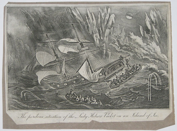 The perilous situation of the Lady Hobart Packet on an Island of Ice.
