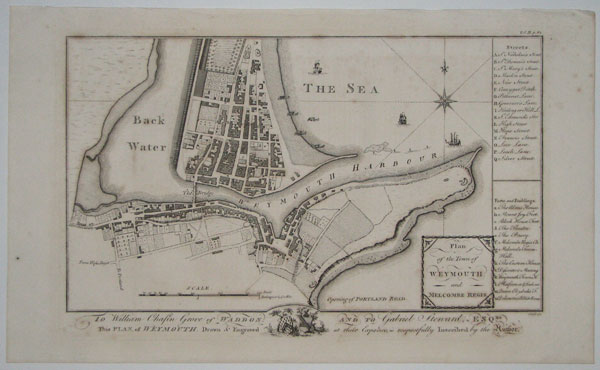 To William Chafin Grove of Waddon and to Gabriel Steward, Esqre. This Plan, of Weymouth. Drawn & Engraved at their Expence, is respectfully Inscribed by the Author. Plan of the Town of Weymouth and Melcombe Regis.