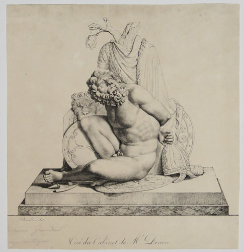 [Classical sculpture: a nude warrior seated on the ground surrounded by his armour, weapon and shields.]