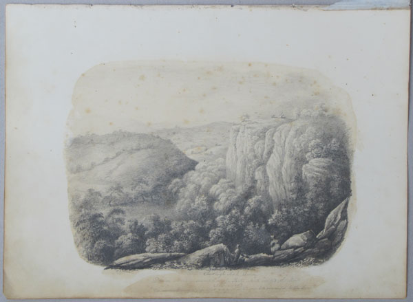 "Chudleigh Rock, Devon. Drawn in commemoration of a Party which visited the Rock 23. June 1832. ""The Remembrance of joys that are past as pleasure and mournful to the soul""."