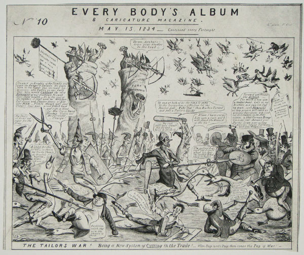 Every Body's Album & Caricature Magazine. No. 10. The Tailor's War! Being a New System of Cutting in the Trade!_When Snip meets Snip then comes the Tug of War.