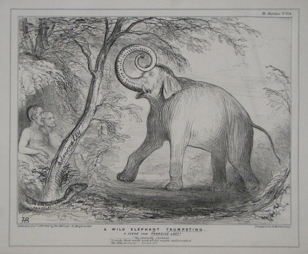 "A Wild Elephant Trumpeting, or A Scene from Paradise Lost! ________""the unwieldy elephant ""To make them mirth used all his might, and wreathed ""His lithe proboscis."" Par.e Lost. Bk.4."