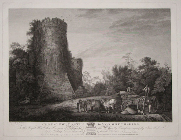 Chepstow Castle in Monmouthshire. To the Right Hon.ble the Marquis of Worcester ~ this Plate is (by Permisson) respectfully Inscribed, by his Lordship's most obedient humble Servant, James Fittler.