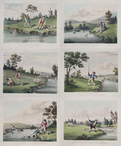 [Set of six fishing prints.] Fishers _ Singular & Plural.