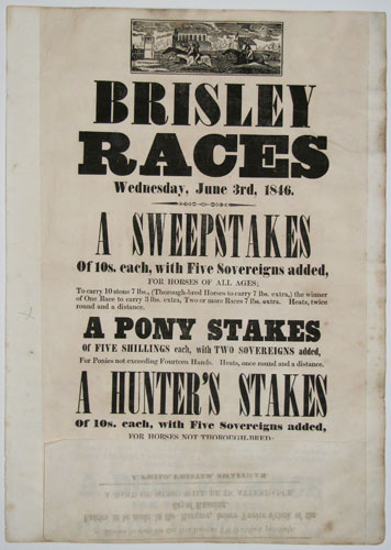 Brisley Races  Wednesday, June 3rd, 1846.