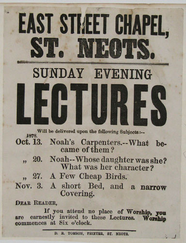 East Street Chapel, St. Neots.  Sunday Evening Lectures