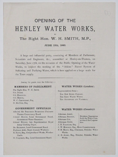 Opening of the Henley Water Works,  by the Right Hon. W.H. Smith, M.P., June 17th, 1882.