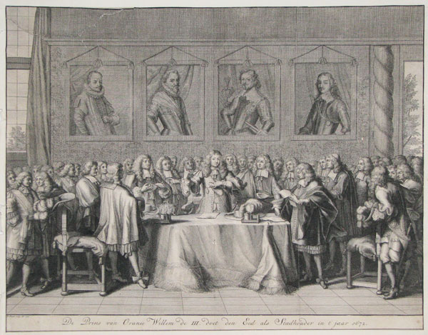 [Dutch title; William of Orange taking the oath as the new stadtholder of the Netherlands.]