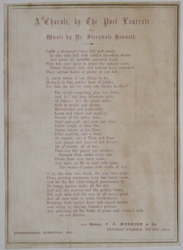 A Chorale, by The Poet Laureate; the Music by Dr. Sterndale Bennett.