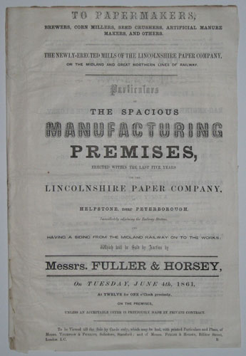 To Papermakers... Particulars of the Spacious Manufacturing Premises, Erected within the last Five Years for the Lincolnshire Paper Company,