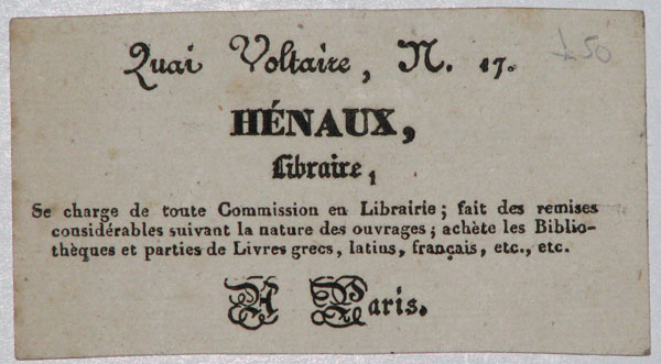 [BOOKSELLER]  Henaux, Libraire.