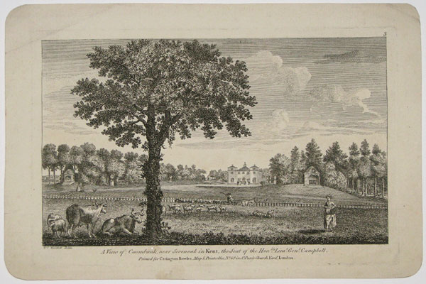 A View of Coombank, near Sevenoak in Kent, the Seat of the Hon.ble Lieu.t.Gen.l Campbell.