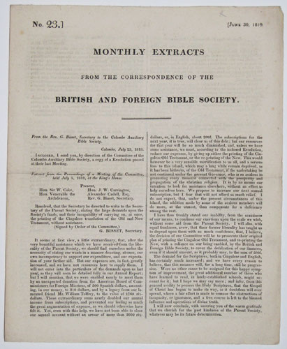 Monthly Extracts from the Correspondence of the British and Foreign Bible Society.