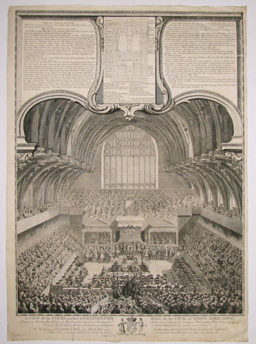 A View of the Court erected in Westminster Hall, for the Tryal of Simon Lord Lovat,
