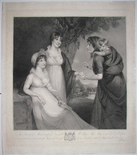 This Print of the Marchioness of Donegall, Mrs. May, Miss May and the Earl of Belfast, Is, with Permission, Dedicated to the Marquis of Donegall by his Lordship's obedient & obliged humble Serrvant JJ Masquerier.