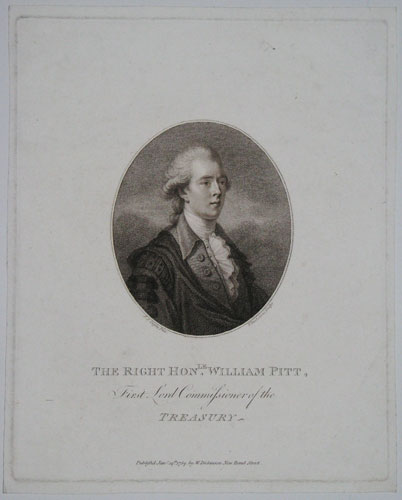 The Right Hon.le William Pitt, First Lord Commissioner of the Treasury.