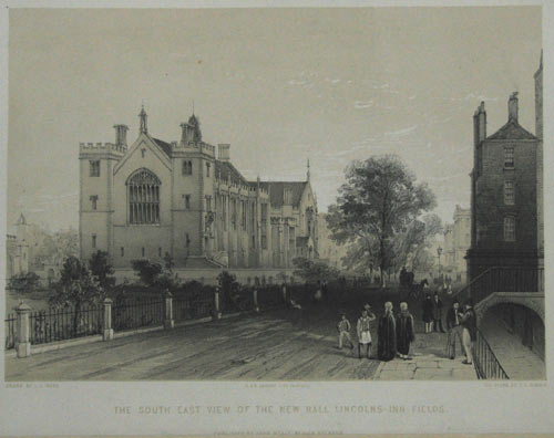 [Set of Six] - South End of the New Hall From the Vice Chancellor of England's Court Lincolns Inn Fields. / The Western Side of the New Hall Lincolns Inn Fields. / The Hall and Gateway from Lincolns Inn Fields. / South East View of the New Hall