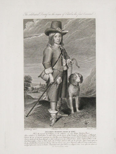 The Celebrated Dwarf in the reigns of Charles the first & second. Jeffrey Hudson Died in 1682.