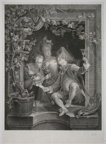 L'Amour en Ribote [The Drunken Cupid; in image, to banner cartouche upper left.]