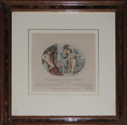 Virtue directed by Prudence to Honour. To Lady Gideon. This Print from ye Original Drawing by C.B. Cipriani is with ye greatest respect Dedicated by her Ladyships most humble Serv.t W. Palmer.